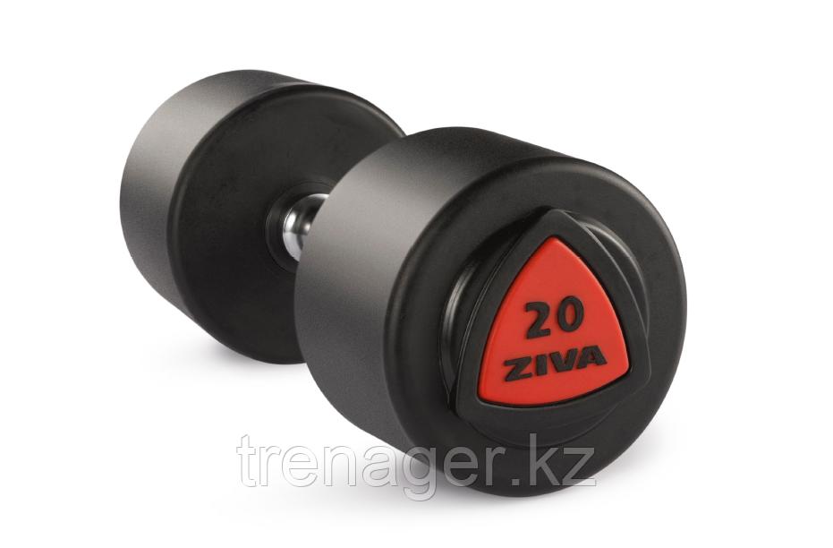 Гантель 34 кг ZIVA серии ZVO уретановое покрытие красная вставка