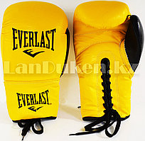 Кожаные боксерские перчатки Everlast желтые на шнуровке 10 OZ