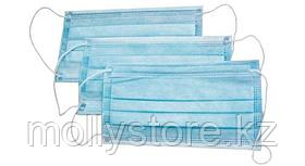 Маска медицинская  3-слойная голубая, на резинках, 50 шт.