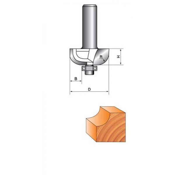 Фреза кромочная калевочная с подшипником Глобус R=6,D=25,H=11,хвост.8мм арт.1018 R6