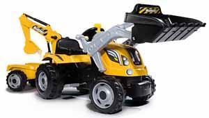 Трактор педальный строительный с 2-мя ковшами и прицепом,