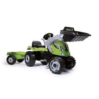 Трактор педальный строительный с одним ковшом и прицепом,