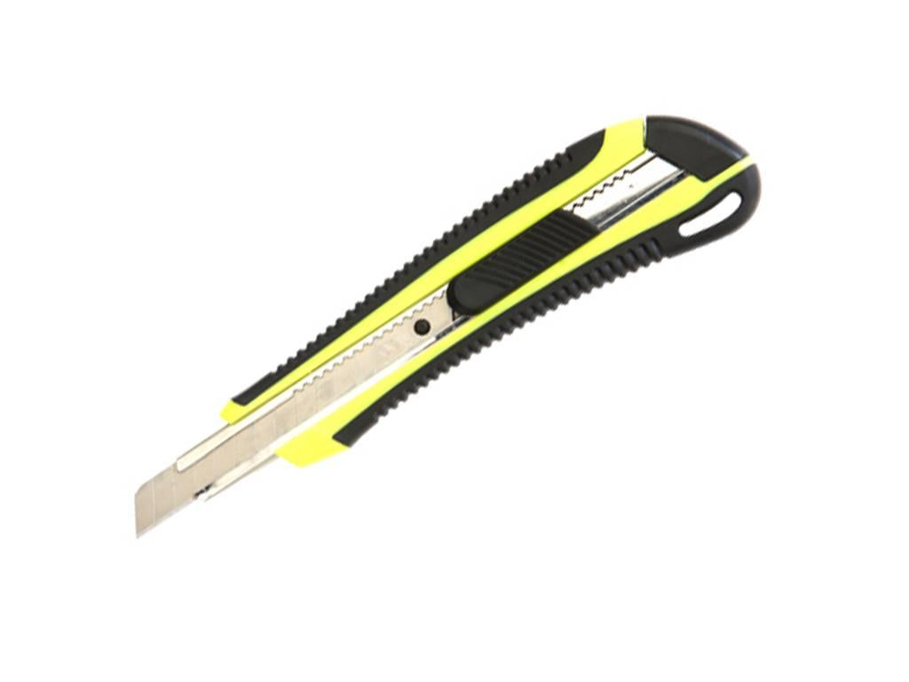 Нож канцелярский DELI, 9 мм, усиленный, прорезиненная ручка