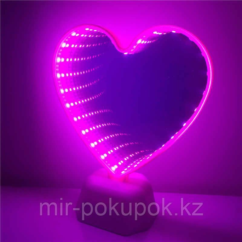 Светильник зеркальный тоннель 3Д (Сердце)