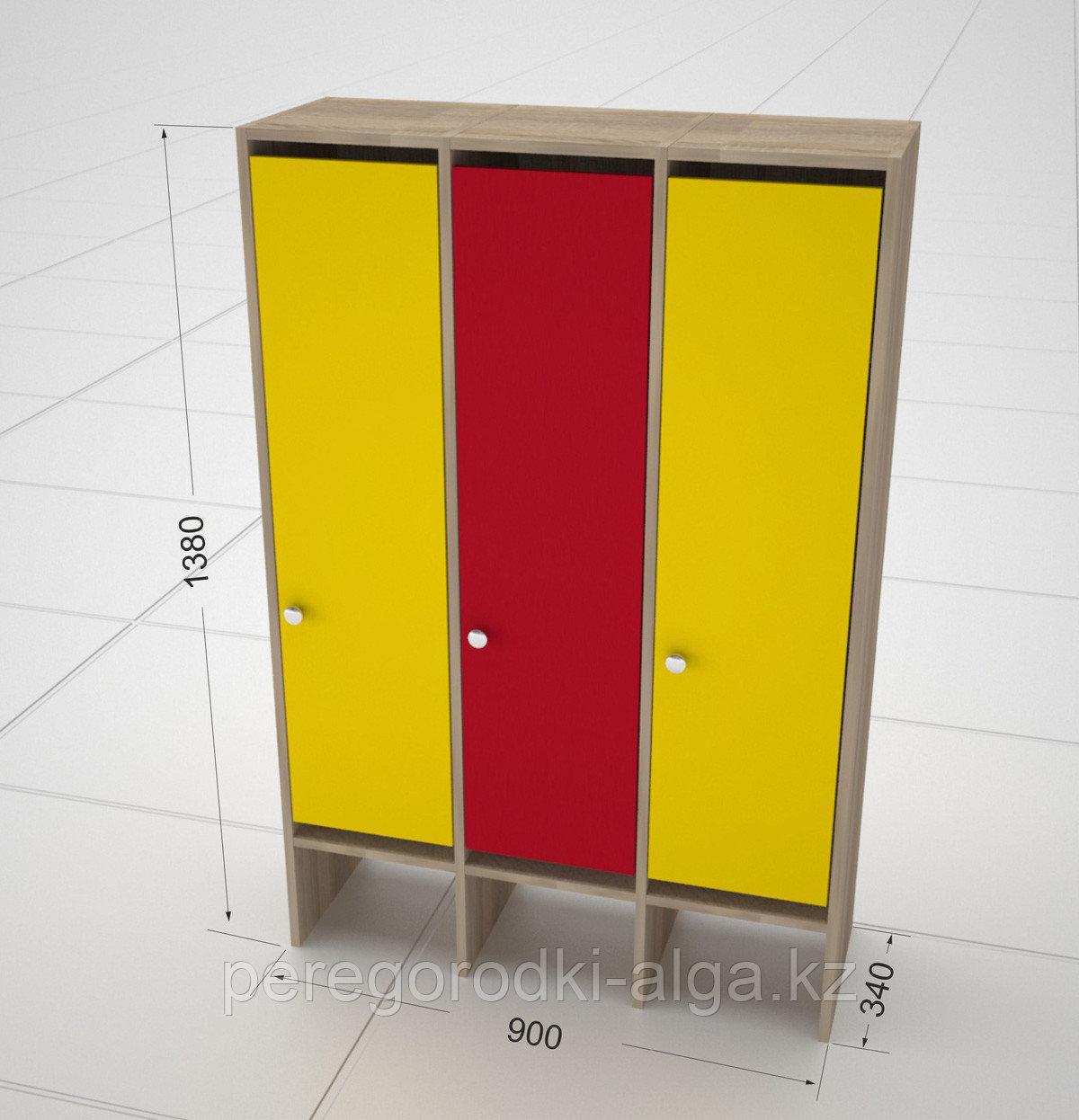 Детские шкафчики для одежды 3-х секционные