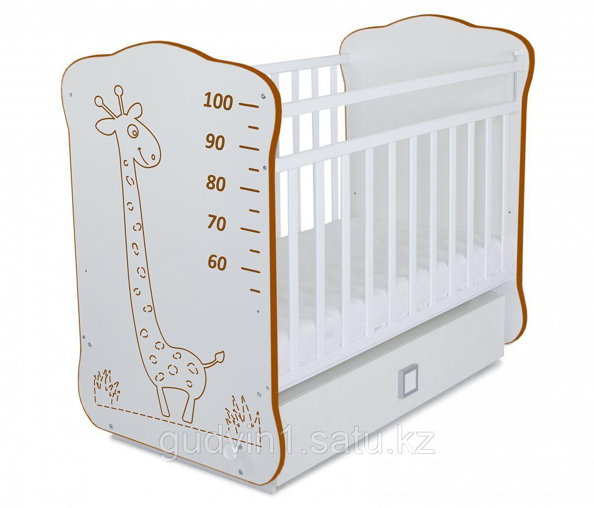 Детская кроватка с поперечным маятником и ящиком СКВ-4(цвет белый) 411001-6