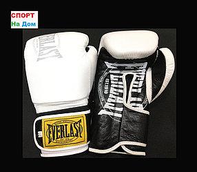 Боксерские перчатки EVERLAST кожа (цвет белый) 12,14,OZ