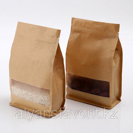 Пакеты восьмишовные с плоским дном бум. (3-х слойный) с прозрачным окошком и с замком зип лок (zip-lock), фото 2