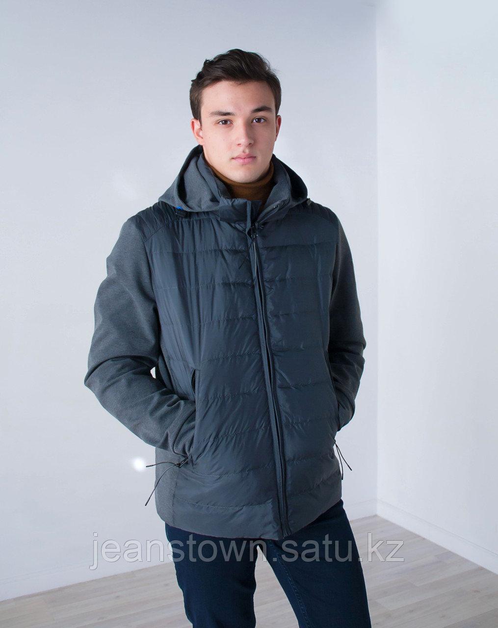 Куртка мужская  демисезонная Vivacana серая,трикотажный капюшон