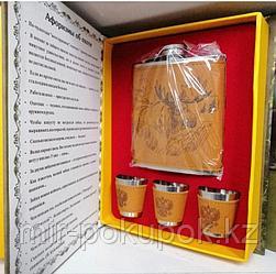 Подарочный набор мужчине (фляга  270 мл, 3 рюмки по 30 мл) с принтом  для любителей охоты и рыбалки