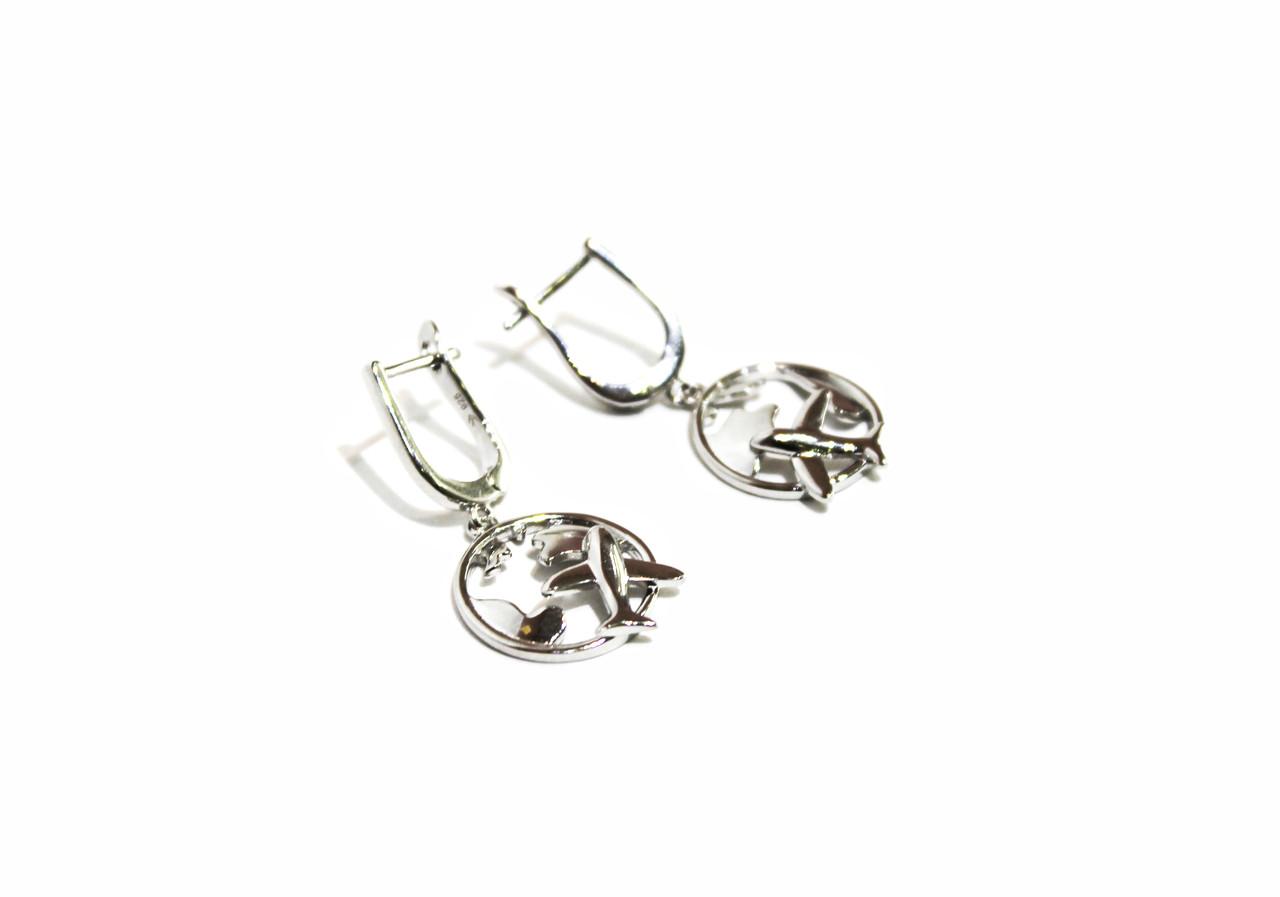 Серебряные Серьги Brosh Jewellery. Серебро 925 пробы, покрытие родий.