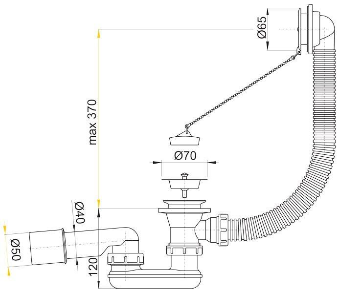 Сифон для ванной Alcaplast A 501 с пробкой на цепочке, хромированный - фото 2