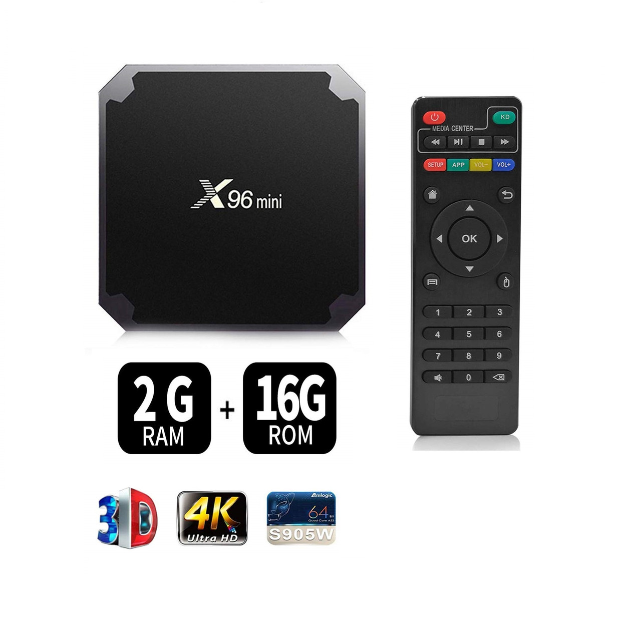 Медиаплеер Android TV Box X96 Mini, 2gb + 16gb, HDMI, WiFi, воспроизведение в формате 4K, пульт управления
