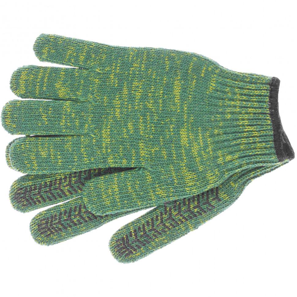 Перчатки трикотажные усиленные, гелевое ПВХ-покрытие, 7 класс, зеленые Россия Сибртех