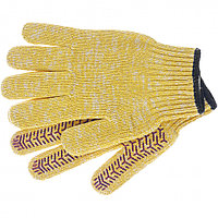 Перчатки трикотажные усиленные, гелевое ПВХ-покрытие, 7 класс, желтые Россия Сибртех