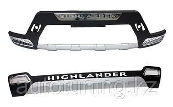 Защитные накладки бампера Тойота Хайлендер / Toyota Highlander 2010-2013 годов выпуска (рестайлинг, кузов U40)