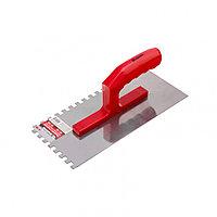 Гладилка стальная, 280 x 130 мм, зеркальная полировка, пластмастмассовая ручка, зуб 10 x 10 мм Matrix, фото 1