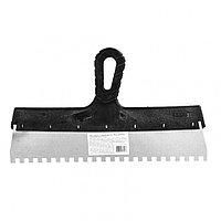Шпатель из нержавеющей стали, 350 мм, зуб 8 х 8 мм, пластмассовая ручка Россия, фото 1