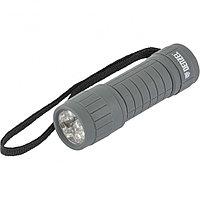 Фонарь светодиодный, серый корпус с мягким покрытием, 9 Led, 3хААА Denzel
