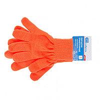 Перчатки трикотажные, акрил, оранжевый, двойная манжета Россия Сибртех