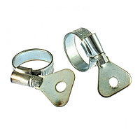 Хомуты металлические, червячные 16-25 мм, ширина 10 мм, W1, с металлическим ключом, 2 шт Сибртех