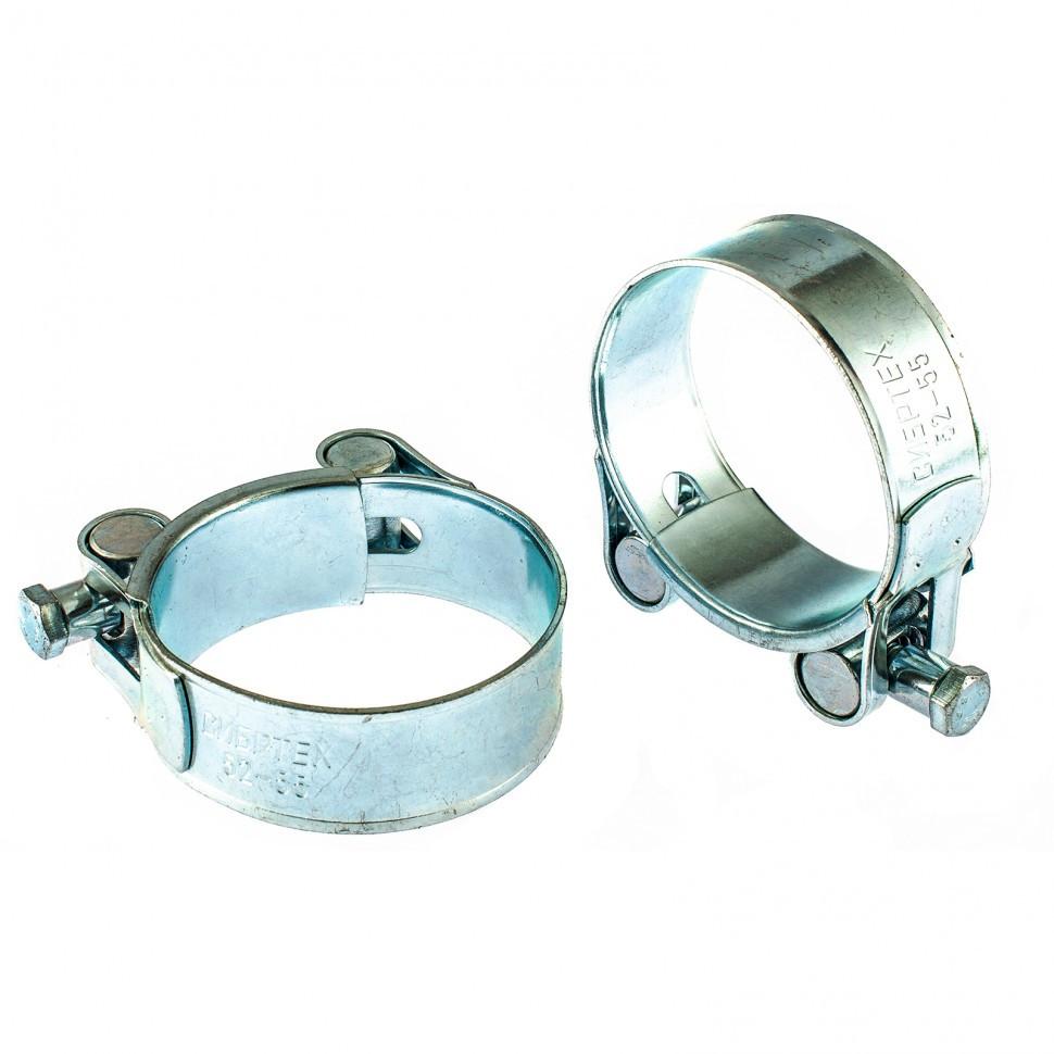 Хомуты металлические, силовые 52-55 мм, ширина 22 мм, шарнирный, W1, 2 шт Сибртех