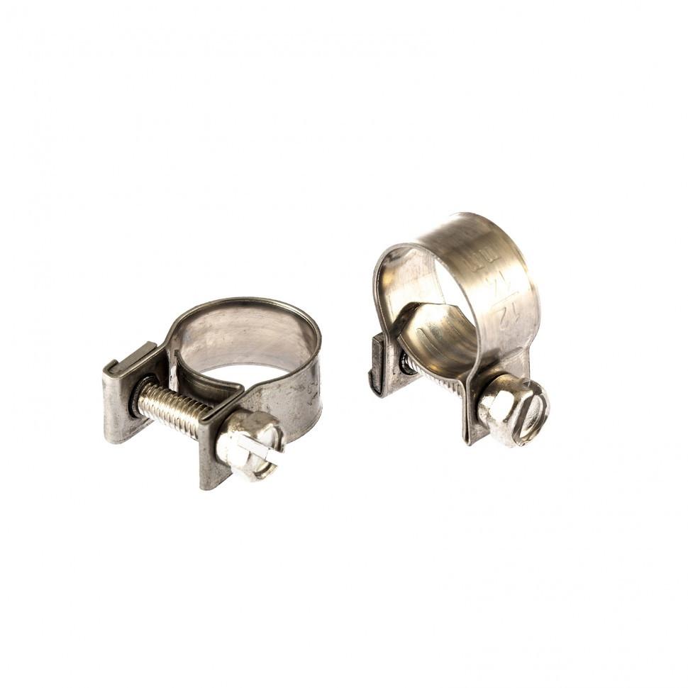 Хомуты металлические, MINI 12-14 мм, ширина 9 мм, винтовой, W4, 2 шт Сибртех