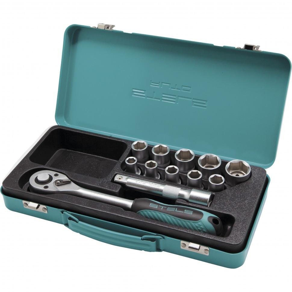 Набор торцевых головок, 1/2, головки 10 - 24 мм, с трещоточным ключом, 12 предметов Stels
