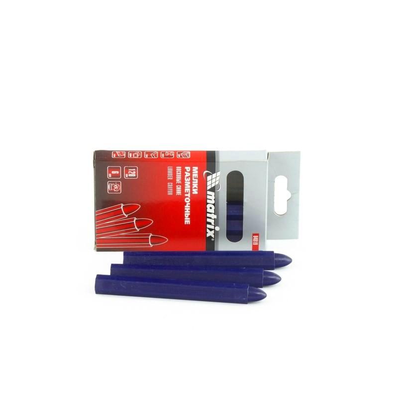 Мелки разметочные восковые синие, 120 мм, коробка 6 шт Matrix