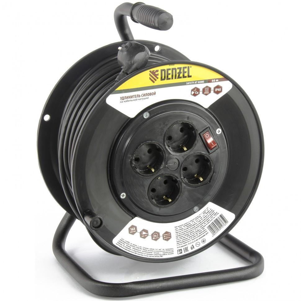 Удлинитель силовой на кабельной катушке, 50 м, 4 розетки, 16 А, серия УХз16 Denzel