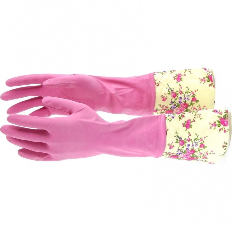 Перчатки хозяйственные, латексные с манжетой, L Elfe