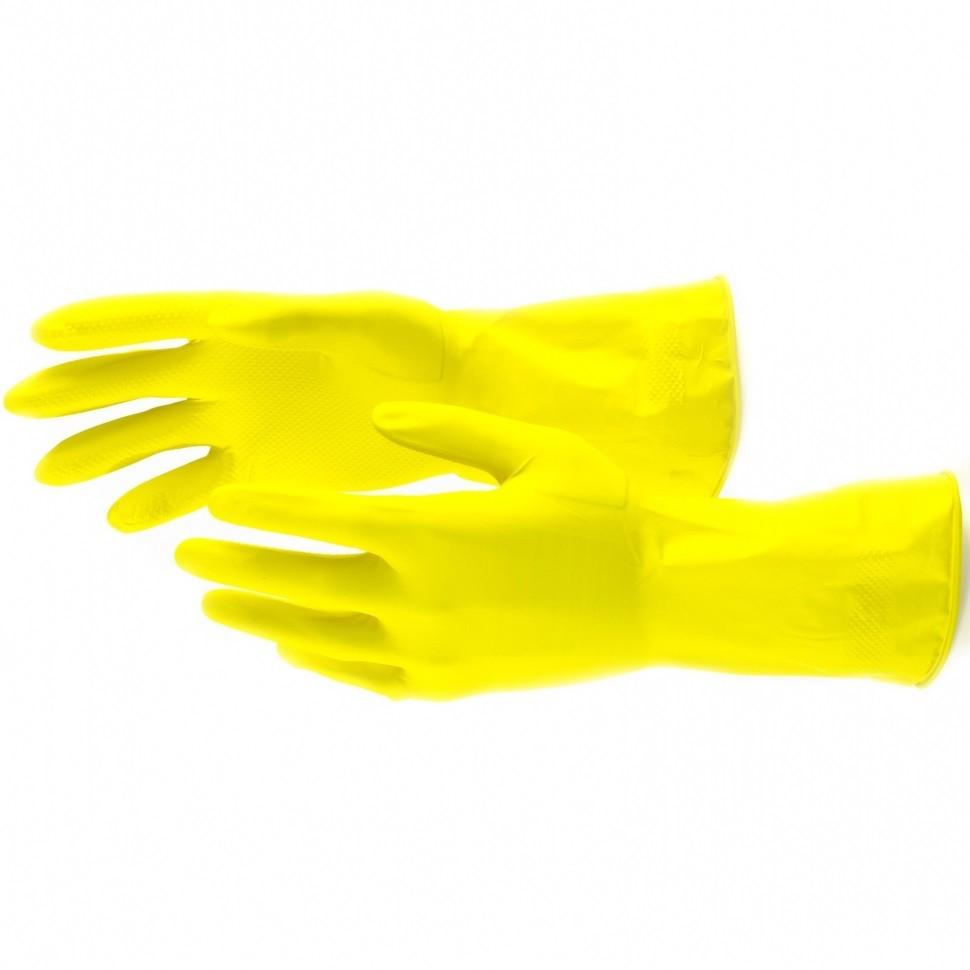 Перчатки хозяйственные, латексные, S Сибртех