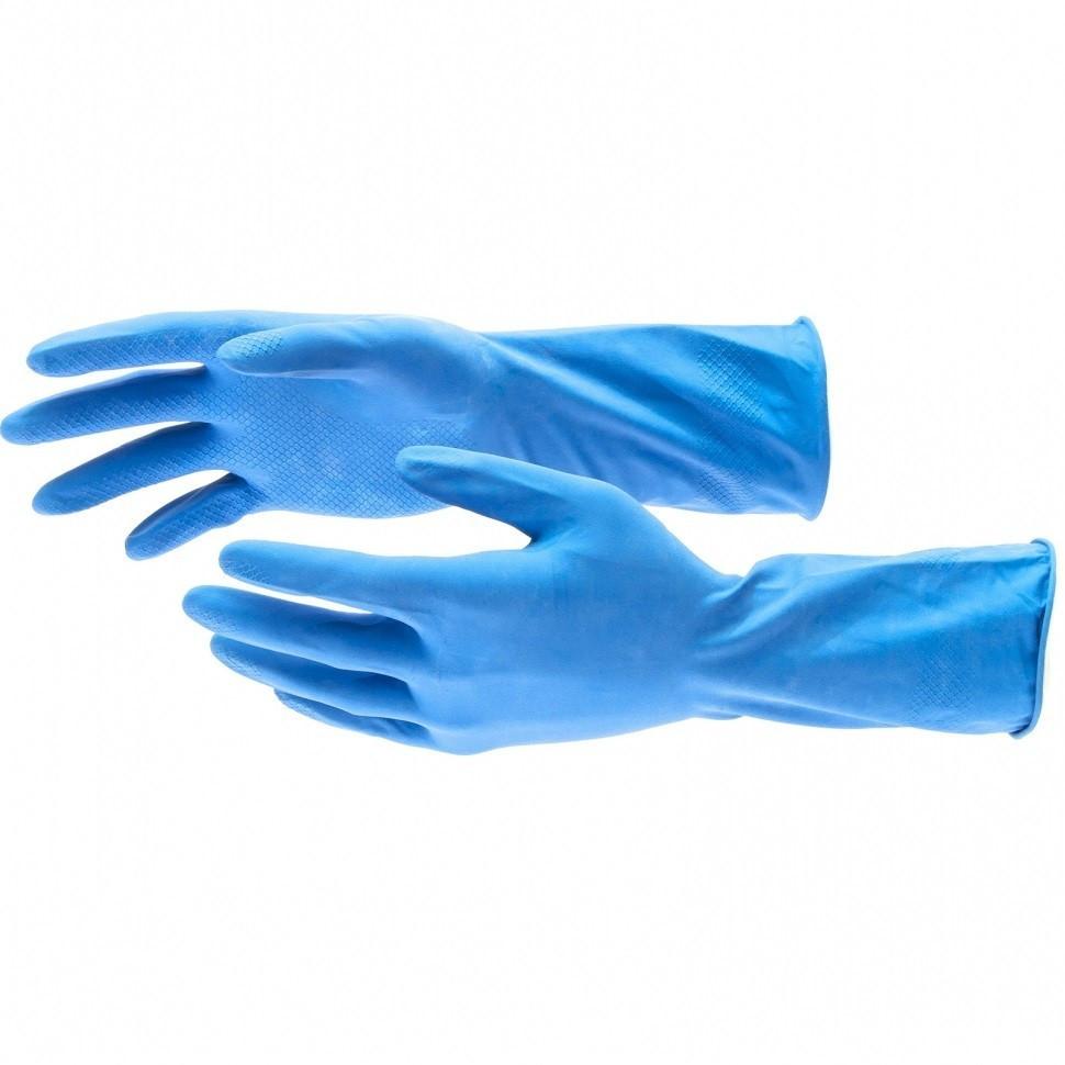 Перчатки хозяйственные, латексные c хлопковым напылением, M Elfe