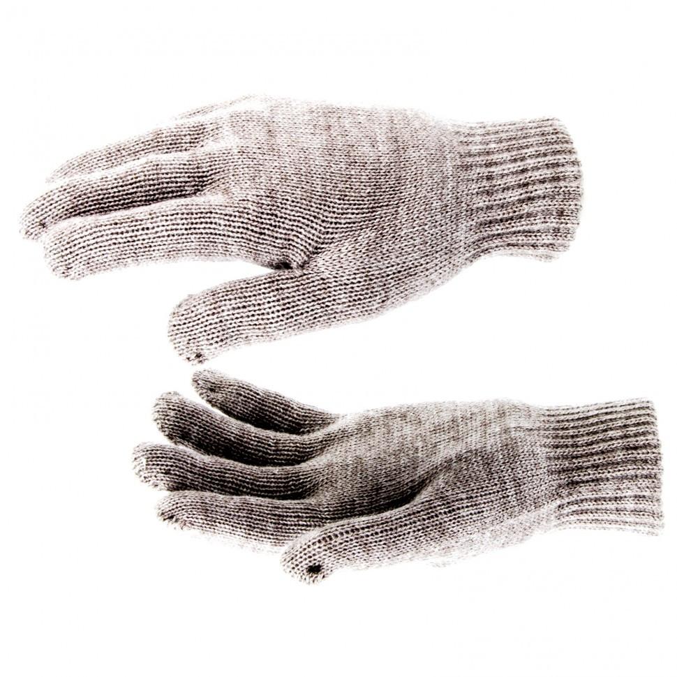 Перчатки трикотажные, акрил, двойные, коричневый, двойная манжета Россия Сибртех
