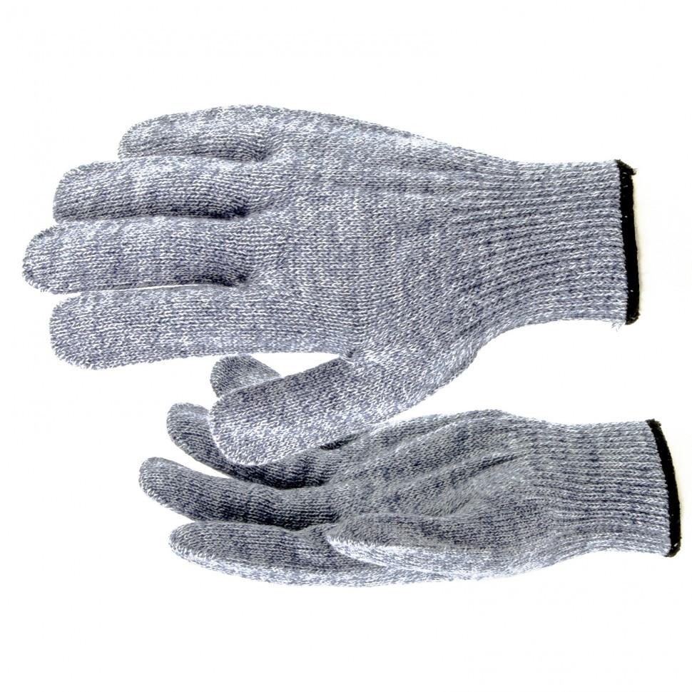 Перчатки трикотажные, акрил, серое мулине, оверлок Россия Сибртех
