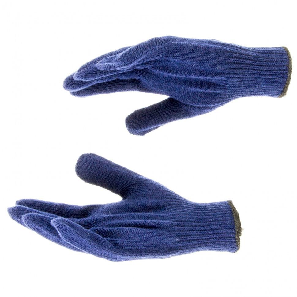 Перчатки трикотажные, акрил, синий, оверлок Россия Сибртех