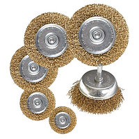 "Набор щеток для дрели, 6 шт, 5 плоских 40-50-65-75-100 мм + 1 ""чашка"" 50 мм, со шпильками Matrix"