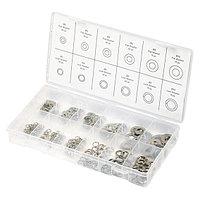 Набор шайб и гроверов, D шайб: 3, 4, 5, 6, 8, 10 мм; D гроверов: 3, 4, 5, 6, 8, 10 мм, 350 предметов Сибртех