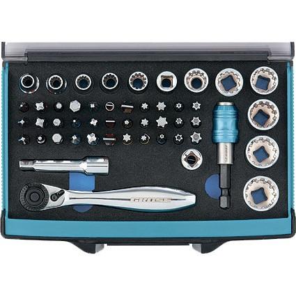 Трещотка с набором бит и торцевых головок, адаптер и удлинитель, 49 шт, S2 Gross