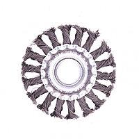 Щетка для УШМ 100 мм, посадка 22,2 мм, плоская, крученая проволока 0,5 мм Matrix, фото 1