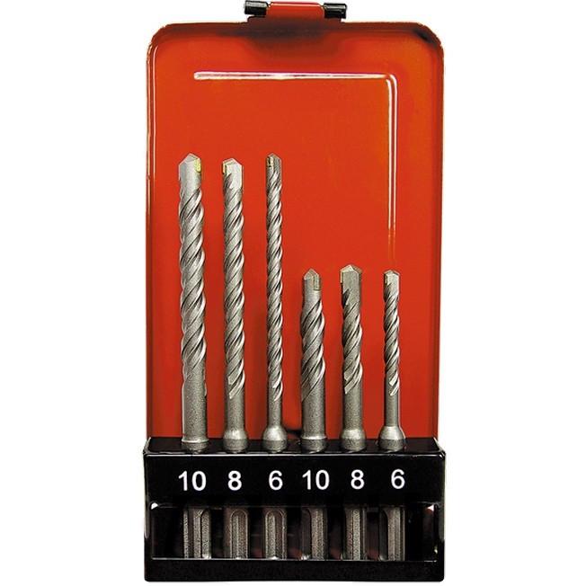 Набор буров по бетону, 6-8-10 х 110,6-8-10 х 160 мм, 6 шт, в пластиковой коробке, SDS Plus Matrix