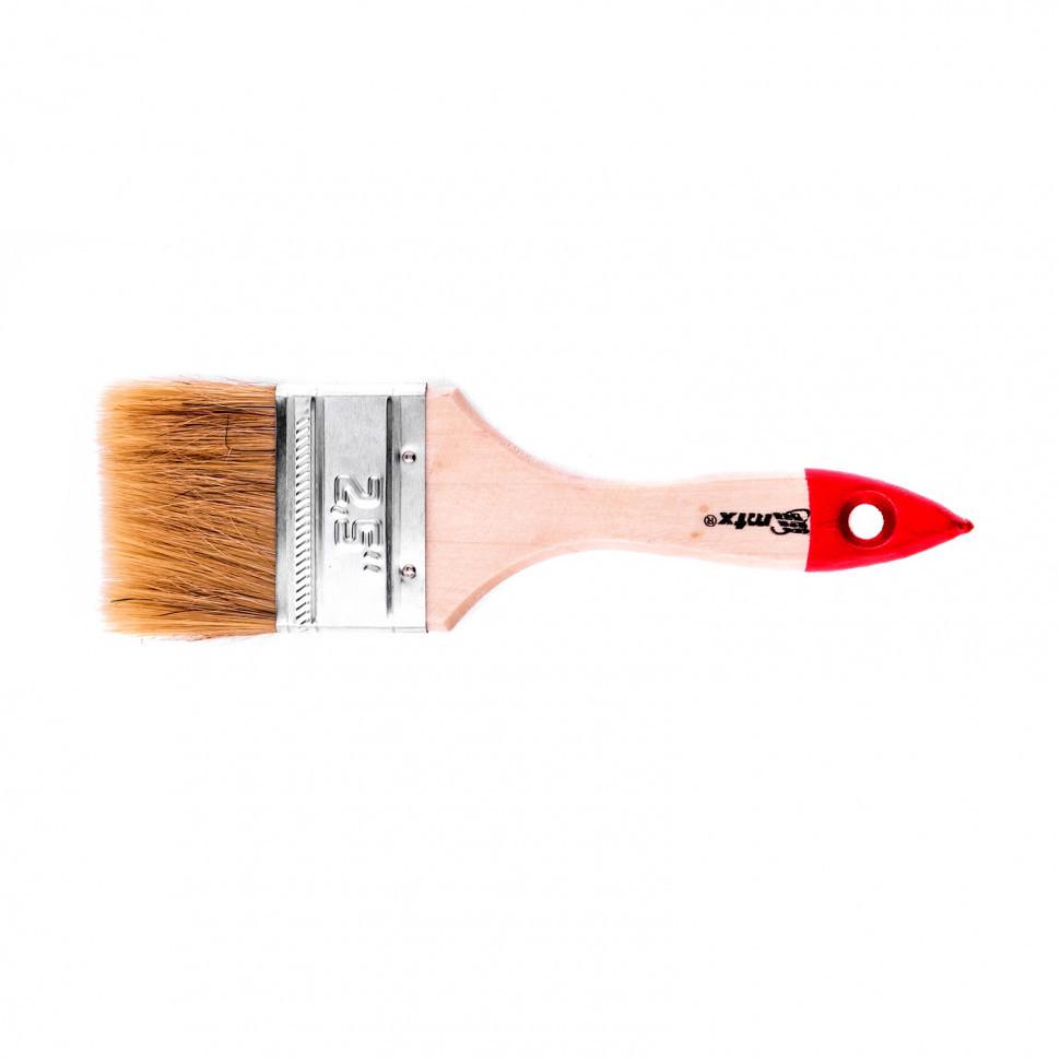 """Кисть плоская """"Стандарт"""" 2,5"""" (63 мм), натуральная щетина, деревянная ручка MTX"""