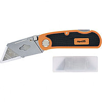 Нож, 19 мм, складной, пластиковая двухкомпонентная рукоятка, сменное трапециевидное лезвие, 5 лезвий Sparta