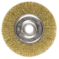 Щетка для УШМ, 100 мм, посадка 22,2 мм, плоская, латунированная витая проволока Matrix