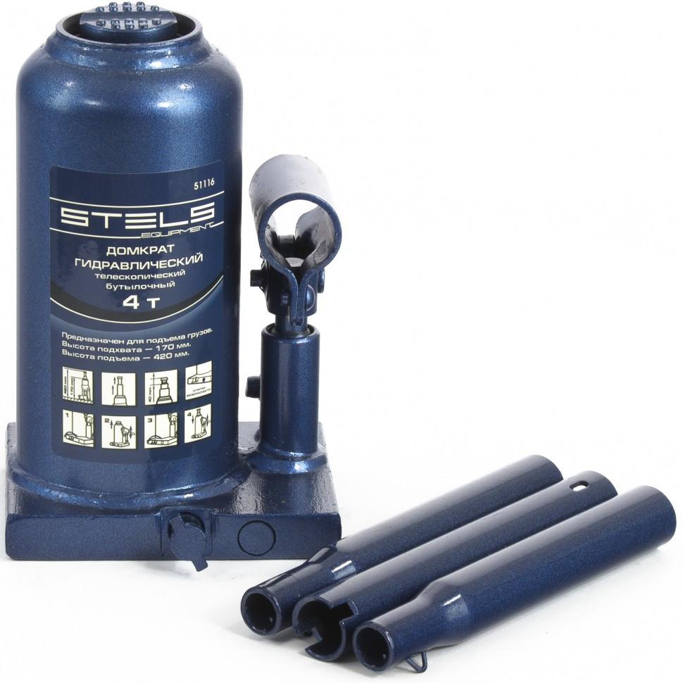 Домкрат гидравлический бутылочный телескопический, 4 т, H подъема 170-420 мм Stels