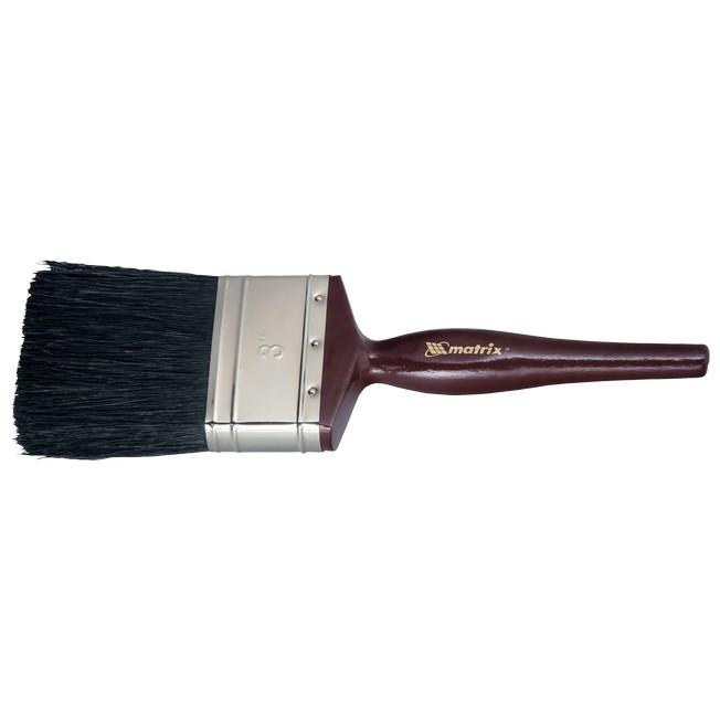 """Кисть плоская """"Декор"""" 1,5"""" (38 мм), натуральная черная щетина, деревянная ручка MTX"""