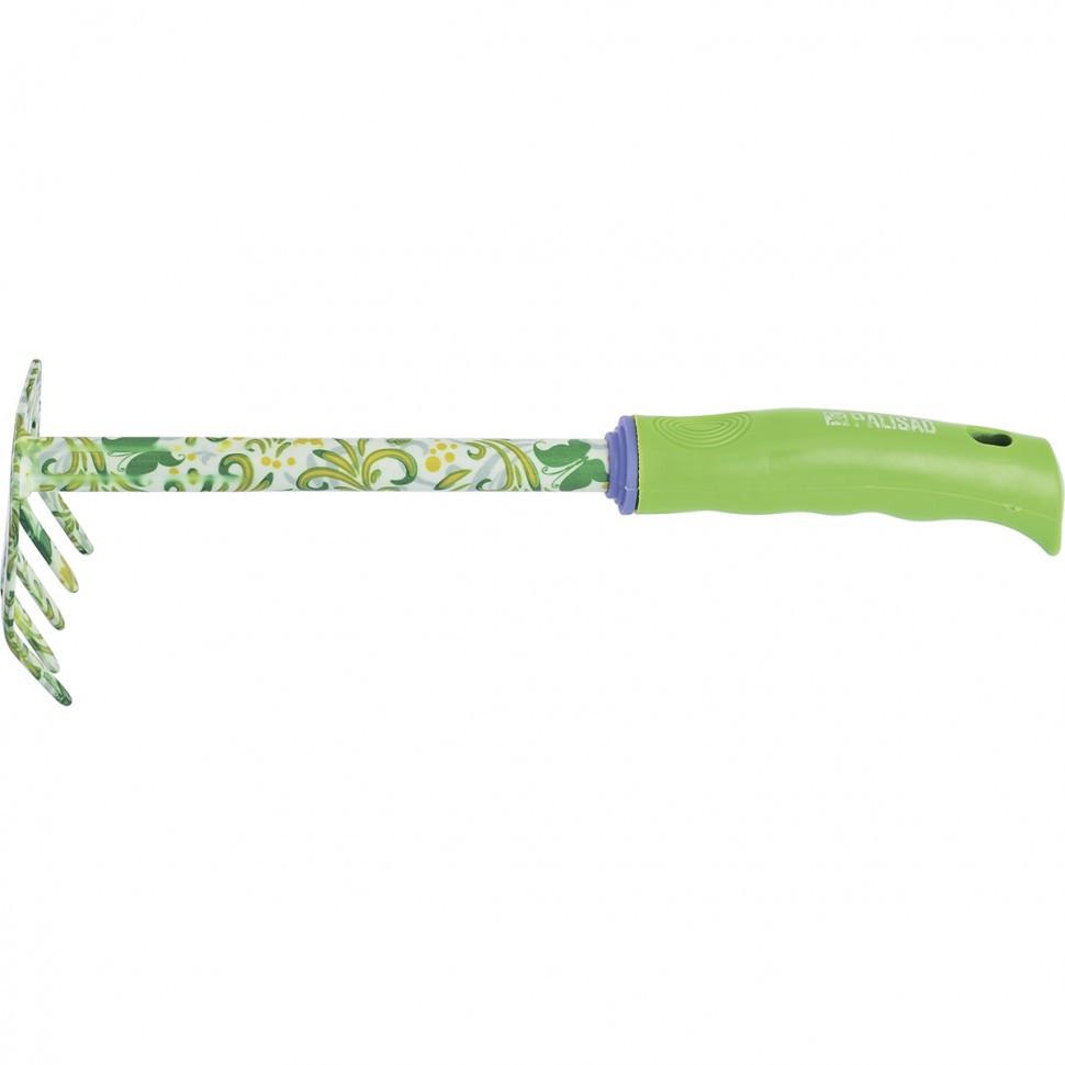 Грабли 5-зубые, 85 x 310 мм, стальные, пластиковая рукоятка, Flower Green Palisad
