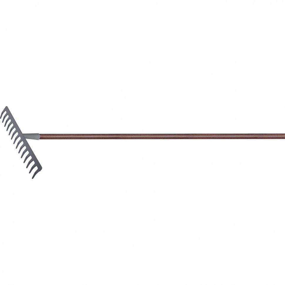Грабли стальные, 360х1250 мм, 14 прямых зубьев, деревянный лакированный черенок, LUXE Palisad