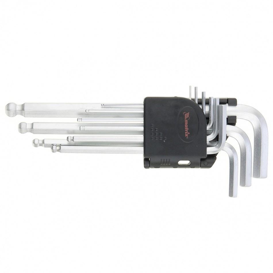 Набор ключей имбусовых HEX, 1,5-10 мм, CrV, 9 шт, удлиненные, сатин, с шаром Matrix
