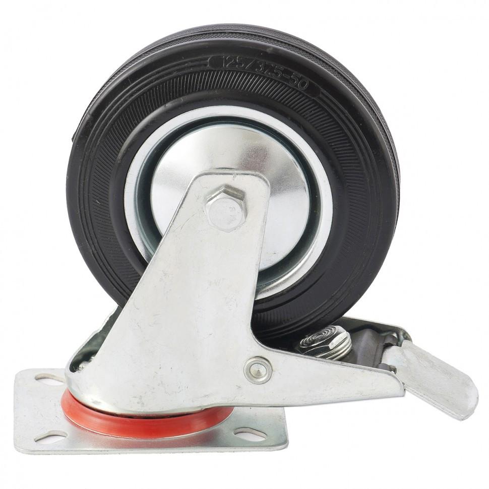 Колесо поворотное с тормозом D 125 мм, крепление  платформенное Сибртех